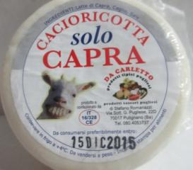 Cacioricotta di solo capra 300 gr.
